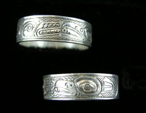 Raven and Wolf Band Ring