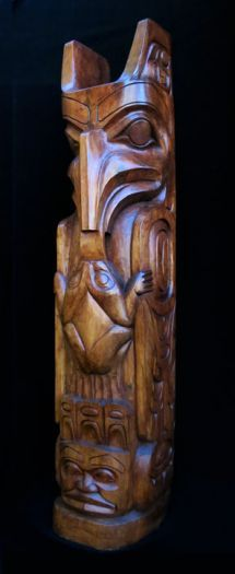 Eagle and Frog Pole - Natural Finish
