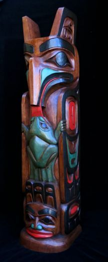 Eagle and Frog Pole - Painted Finish