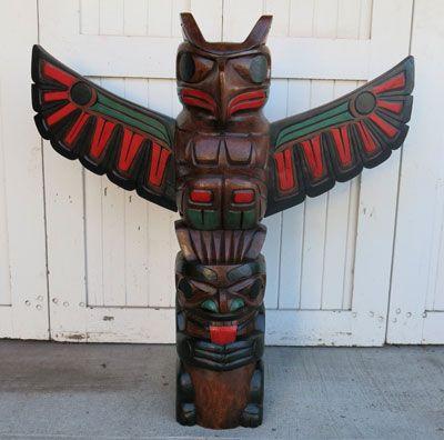 Thunderbird and Bear Pole - Painted Finish