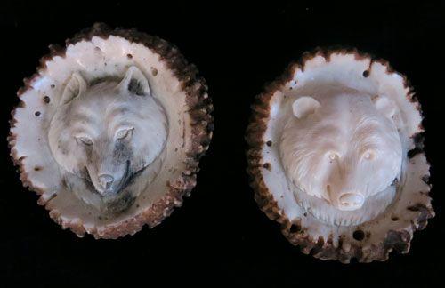 Wolf and Bear Deerhorn Rosettes / Burrs