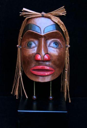Portrait Mask on Stand with Cedar Bark