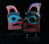Double Sided Face Mask, Dorsal Fin, Open Mouth, on Stand